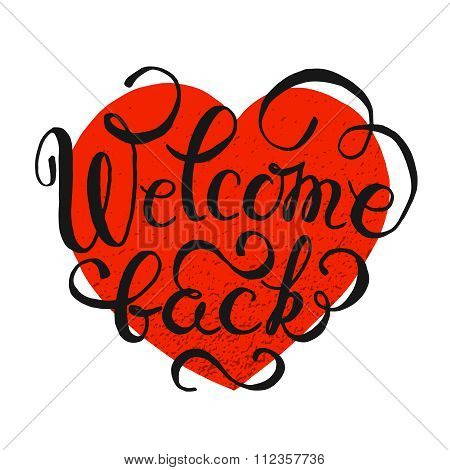 Welcome Back vector hand drawn lettering typography