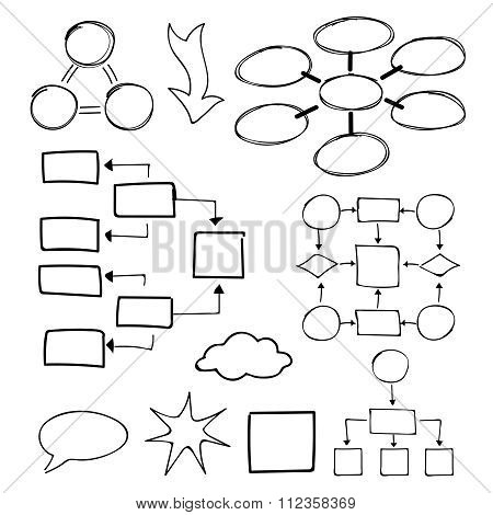 Flowcharts vector set. Felt-tip pen and marker objects