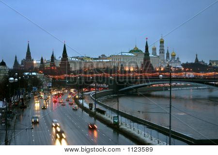 Moscow Winter Town Landscape.