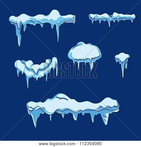 Ice sheet with icicle. Vector set in cartoon style