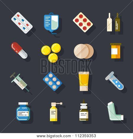 Drugs or medicine. Pills, capsules, mixture bottles flat icons set