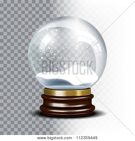 Christmas vector snow globe on checkered background