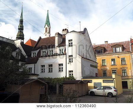 medieval buildings architecture in ancient city  Riga Latvia Europe