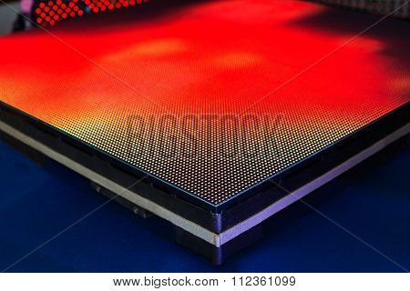 Side Of The Panel Of Red Colored Led Screen