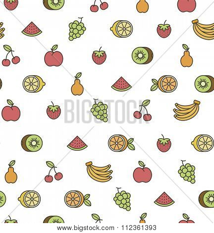 seamless pattern with fruits icons. on white background