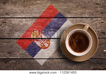 Serbia Flag With Coffee