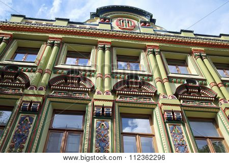 MOSCOW - JUL 05, 2015: Colorful painting of the facade of the manor house of a merchant Shibaev in Moscow