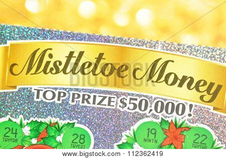Coquitlam BC Canada - December 19, 2015 : Close up lottery ticket. The British Columbia Lottery Corporation has provided government sanctioned lottery games in British Columbia since 1985.