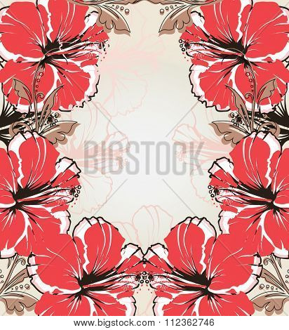 Vintage invitation card with ornate elegant retro abstract floral design, red and brownish gray flowers and leaves on light gray background with text label. Vector illustration.