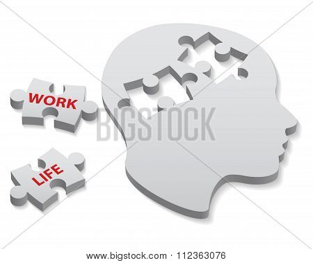 Work And Life Words Written On Two Pieces Of Jigsaw Puzzle