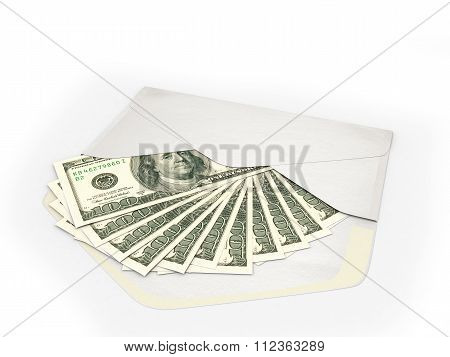 Open Envelope Containing Dollar Bills On A White Background