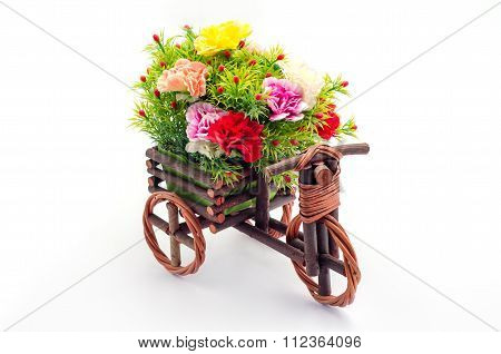 Artificial Flowers With Wooden Tricycle Toy