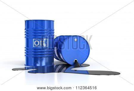Two Oil Barrels And Poured Oil On A White Background.