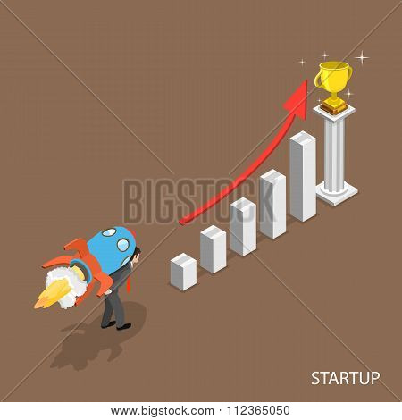 Startup isometric flat vector concept.