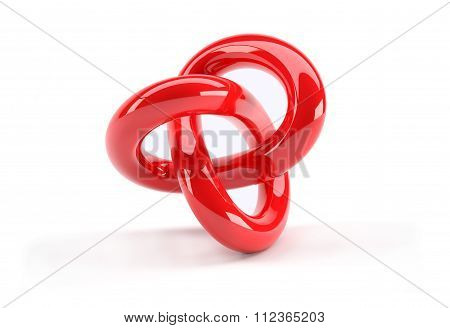 Red Plastic 3D Abstract Object