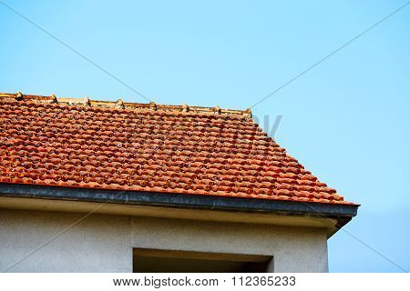 Red Roof Tiles And Sky Sunlight