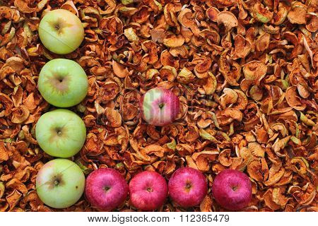 Red And Green Dried Apples As Background