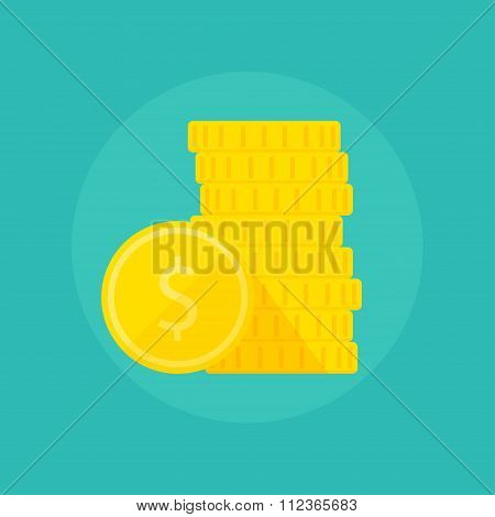 Coins flat vector illustration