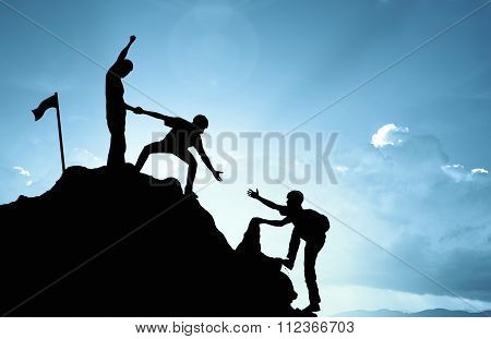 Climbing Helping  Team Work , Success Concept