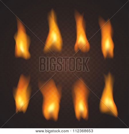 Set Of Realistic Transparent Fire Effects, In Vector
