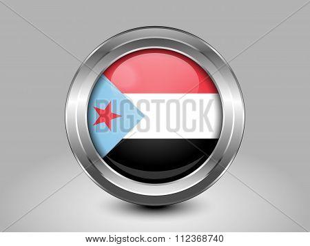 Flag Of South Yemen. Metal Round Icon
