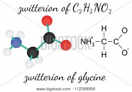 C2H5NO2 zwitterion of glycine amino acid molecule