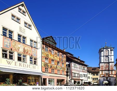 Ancient Historic Medieval Old Town. Wangen Im Allgau, Germany