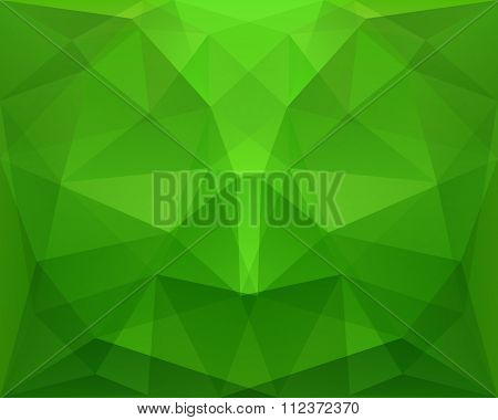 Abstract Polygonal Geometric Green Background, With Symmetry, In Vector
