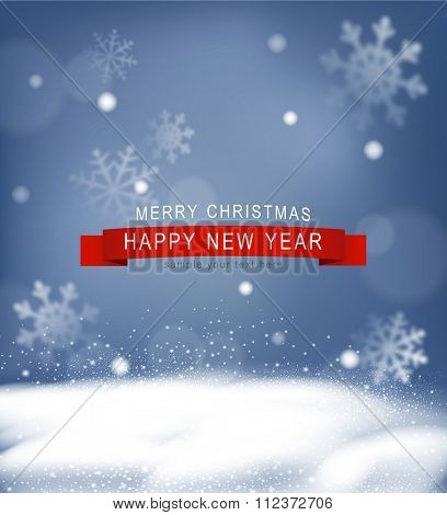 Vector Christmas background with snow and snowflakes