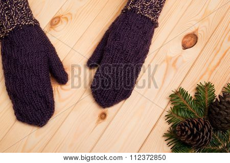 Knitted Mittens With Fir Tree Branch