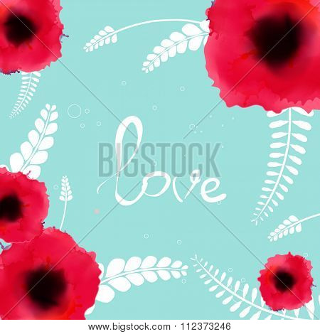 Watercolor flowers Bunch of red romantic blooming poppy flowers isolated vector illustration. Template for wedding, valentine day, mothers day, birthday, invitations.