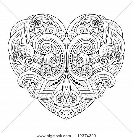 Vector Decorative Monochrome Abstract Heart