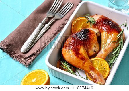 Chicken Legs Baked In Honey Orange Glaze.