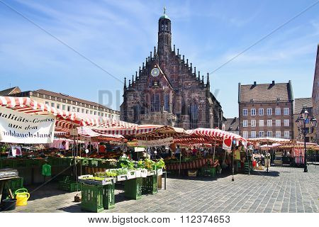 Nuremberg Cathedral, Frauenkirche At Main Market Square.  Nuermberg, Germany