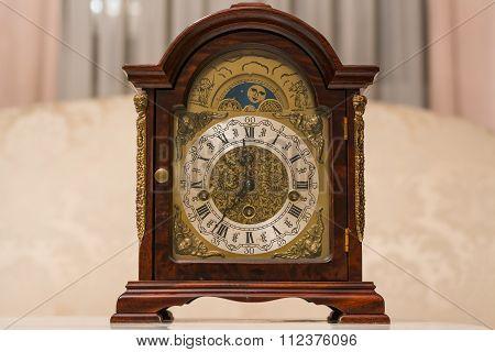 Old Vintage Clock Made Of Wood