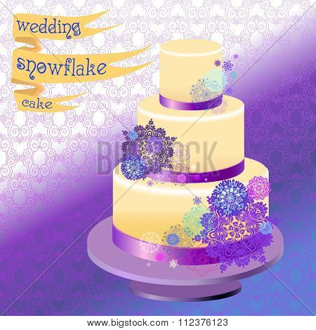 Wedding cake with winter snowflakes design. Vector illustration.