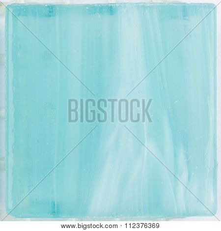Bright Turquoise Glass Smalt With Stripes