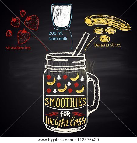 Colored chalk drawn illustration of  banana and strawberry smoothie in a bottle with ingredients. S