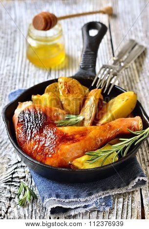 Roasted Chicken Leg With Potato.