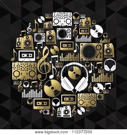 Music Dj Concept Icon Set Vinyl Cd Shape Gold
