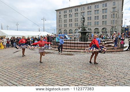 Russian Cossack Dance On The Market Square At The Celebration Of The Day Of Russia In Helsinki
