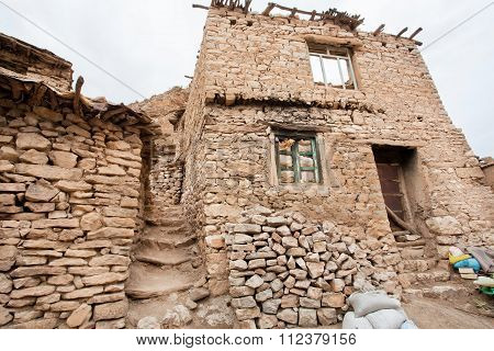 Textured Stone Houses In Traditional Mountain Vilage, Kurdistan