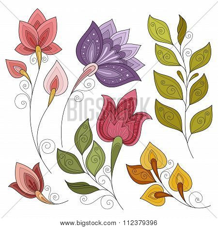 Vector Set Of Colored Contour Flowers And Leaves