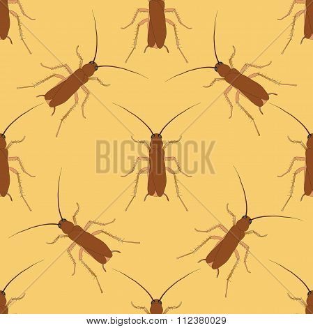 Seamless Pattern With Cockroach. Blattella Germanica   Hand-drawn Cockroach. Vector