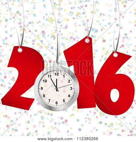 New Year 2016 Numbers And Clock