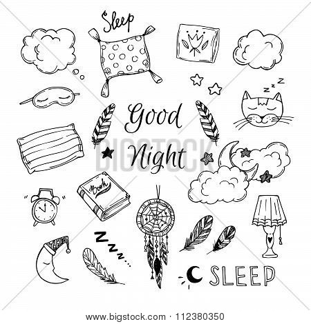 Hand Drawn Vector Elements - Good Night (dreamcatcher, Sleeping Moon, Pillows, Feathers, Book, Lamp,