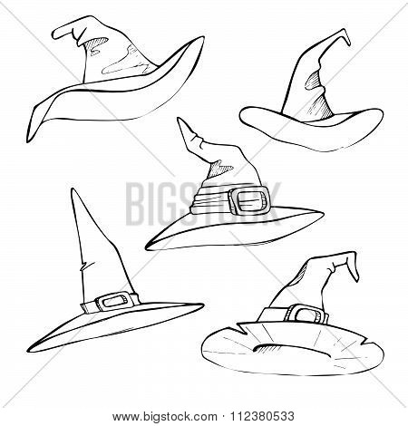 Hand Drawn Vector Illustration - Hats For Halloween. Sketch