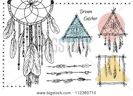 Hand Drawn Illustration - Set Of Dream Catchers. Tribal Design Elements. Vector