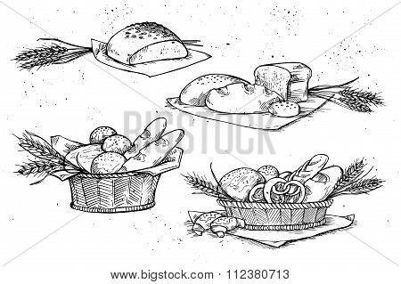 Hand Drawn Vector Illustrations - Bakery Shop. Grocery Store. Organic Food. Set Of Vintage Illustrat