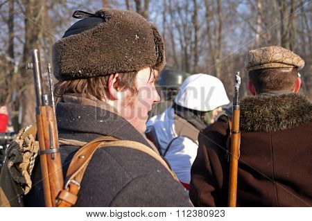Gatchina, Russia, February 18, 2012: Reconstruction of battle during World War II